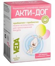 Veda - АктиДог пробиотик + пребиотик для щенков и маленьких собак (5 пакетов-саше)