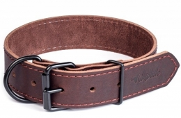"""Gripalle - Ошейник для собак из натуральной кожи """"Дакс"""" (2,5 x 40 см) черная фурнитура, коричневый"""