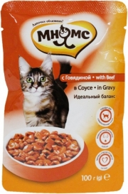 Мнямс - пауч для кошек с говядиной в соусе (100 г)