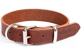 """Gripalle - Ошейник для собак из натуральной кожи """"Дакс"""" (2,5 x 40 см) стальная фурнитура, коньяк"""
