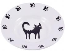 КерамикАрт - керамическая миска-блюдце для кошек (140 мл) белая