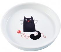 """КерамикАрт - керамическая миска для кошек """"Кошка"""" (210 мл) белая"""