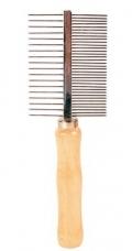 Trixie - Расческа двухсторонняя с деревянной ручкой (18 см)