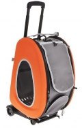 Ibiyaya - складная сумка-тележка 3 в 1 для кошек и собак до 8 кг (сумка, рюкзак, тележка) оранжевая