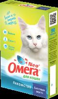 Омега Neo + - мультивитаминное лакомство для кошек Блестящая шерсть (90 таб.)