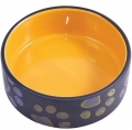 КерамикАрт - керамическая миска для собак (420 мл) черная с желтым