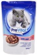 PreVital - Классик паучи для кошек в соусе с телятиной (100 г)