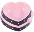 """КерамикАрт - керамическая миска для собак и кошек """"Сердечко"""" (250 мл) коричневая с розовым бантом"""
