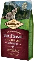 CarniLove Cat Duck & Pheasant Hairball - сухой беззерновой корм для взрослых кошек, для вывода шерсти, с мясом утки и фазана