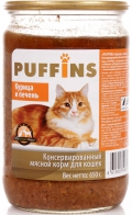 Puffins - консервированный корм для взрослых кошек, курица и печень, банка (650 г)