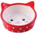 """КерамикАрт - керамическая миска для кошек """"Мордочка кошки"""" (250 мл) красная в горошек"""