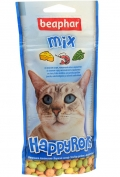 Beaphar Happy Rolls Mix - Беафар лакомство шарики с креветками, сыром и кошачьей мятой для кошек (80 шт)