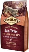 CarniLove Cat Duck & Turkey Large - сухой беззерновой корм для кошек крупных пород с мясом утки и индейки