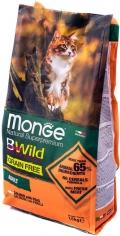 Monge BWild Grain Free - сухой беззерновой корм для кошек с лососем и горохом