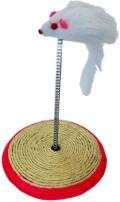 Уют - игрушка для кошек Мышь на пружине с подставкой, сизаль (16 x 23 см)