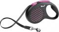 Flexi Design - рулетка S (до 15 кг) 5 м лента, горох (черный/розовый)
