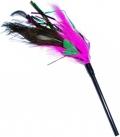 Уют - игрушка для кошек дразнилка розово-зеленые-черные перья (35 см)