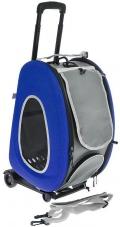 Ibiyaya - складная сумка-тележка 3 в 1 для кошек и собак до 8 кг (сумка, рюкзак, тележка) синяя