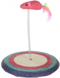 Уют - игрушка для кошек Мышь на пружине с подставкой, сизаль (20 x 20 см)