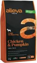 Alleva Natural Chicken & Pumpkin Puppy Medium - сухой низкозерновой корм для щенков средних пород с курицей и тыквой