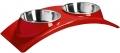 """Super Design - миска двойная на меламиновой подставке """"Элеганс"""" (2 х 160 мл) красная"""
