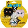 Silly Squeakers iBall Small Black, Brown & Pink - Игрушка-пищалка для собак Пушистый мяч с глазами набор из 3 маленьких мячей, черный, коричневый, розовый