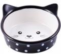 """КерамикАрт - керамическая миска для кошек """"Мордочка кошки"""" (250 мл) черная в горошек"""