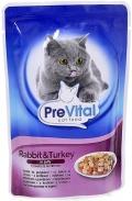 PreVital - Классик паучи для кошек в желе с кроликом и индейкой (100 г)