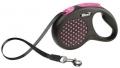Flexi Design - рулетка M (до 25 кг) 5 м лента, горох (черный/розовый)