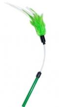 Уют - игрушка для кошек дразнилка гибкая, зелено-белые перья (30+10 см)