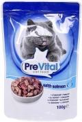 PreVital - Классик паучи для кошек в соусе с лососем (100 г)