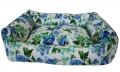 №1 - Лежак с двусторонней подушкой (зима / лето) 65 x 51 x 18 см (синие цветы)