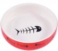 """КерамикАрт - керамическая миска для кошек """"Рыбки"""" (300 мл) белая"""