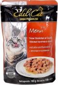 Edel Cat - Нежные кусочки в соусе Печень и Кролик (пауч, 100 г)