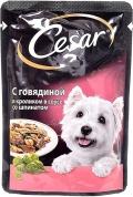 Cesar - Паучи для собак с говядиной и кроликом в соусе со шпинатом (100 г)