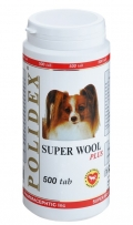Polidex Super Wool Plus - Кормовая добавка для собак для кожи и шерсти (500 таб.)