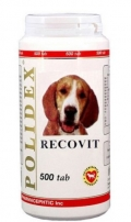 Polidex Recovit - Кормовая добавка для собак для восстановления после заболеваний (500 таб.)