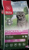 Blitz Holistic - сухой низкозерновой корм для взрослых кошек с курицей и ягненком