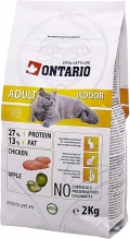 Ontario Adult Indoor - сухой корм для домашних кошек с цыпленком