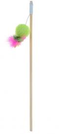 Уют - игрушка для кошек дразнилка-удочка, Мячик, деревянная палочка (40 см)
