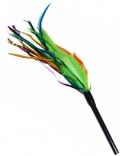 Уют - игрушка для кошек дразнилка гибкая, зелено-оранжевые перья (40 см)