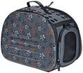 Ibiyaya - складная сумка-переноска для собак и кошек до 6 кг (серая в цветочек)