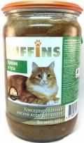 Puffins - консервированный корм для взрослых кошек, кролик и гусь, банка (650 г)
