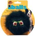"""Silly Squeakers iBall Medium Black - Игрушка-пищалка для собак """"Пушистый мяч с глазами"""" средний, черный (10 см)"""